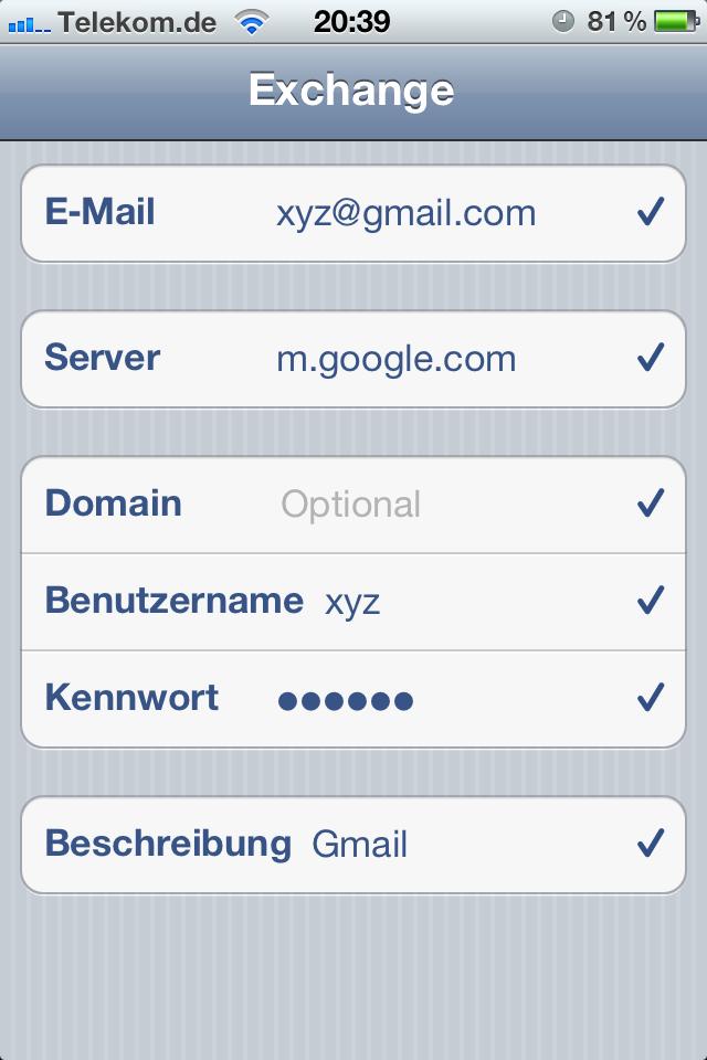 Screenshot iPhone Beispielzugangsdaten für Gmail